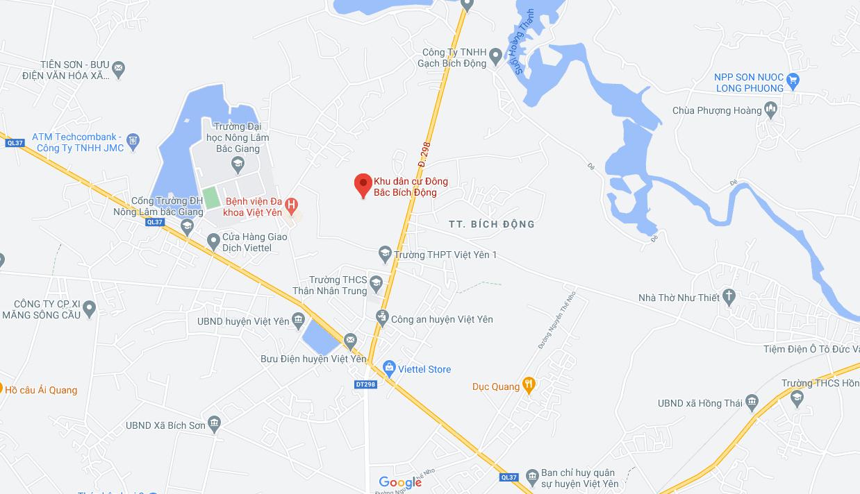 Vi tri du an khu dan cu Dong Bac Bich Dong